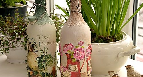 butelki na nalewki lub na oliwę wykonane ręcznie