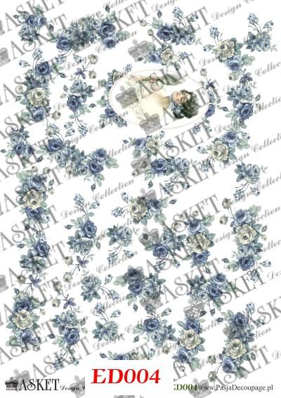 decoupage papier niebieskie róże