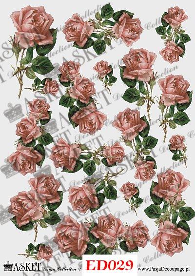 róże w kolorze starego różu decoupage