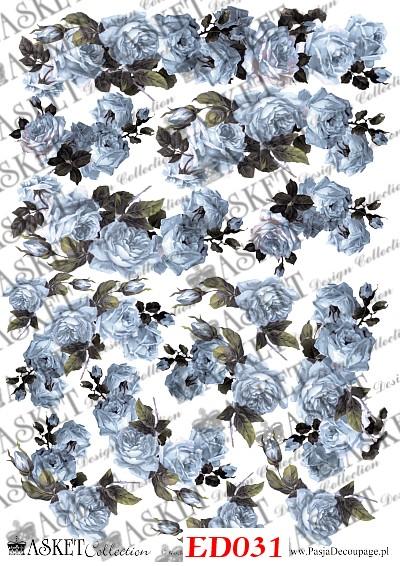 papier niebieskie róże decoupage