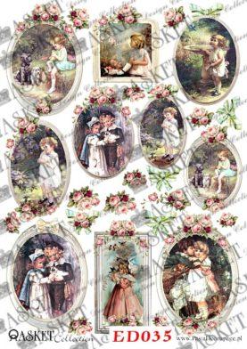 decoupage papier romantyczne dzieci