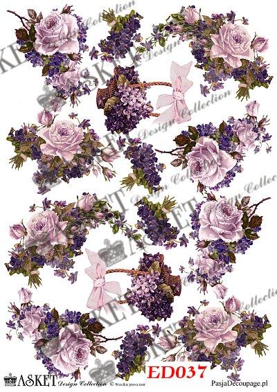 róże i fiołki serwetki decoupage