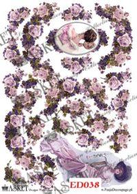 decoupage dama róże i fiołki