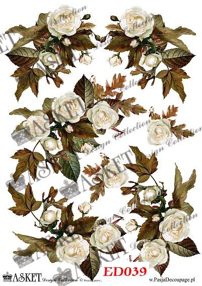 decoupage motywy Białe jesienne róże