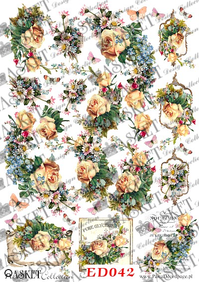 dekupaż wzory romantyczne kwiaty