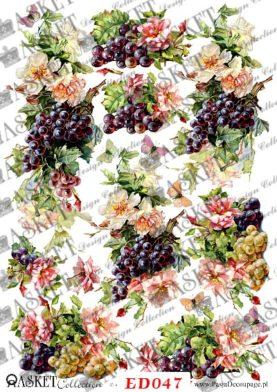motyw z winogronem do decoupage