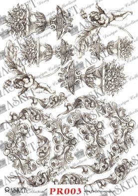piękne motywy waz i aniołów oraz strojnych ornamentów