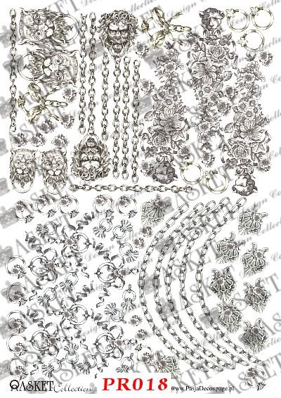 kołatki, łańcuchy i kokardy na jednym papierze