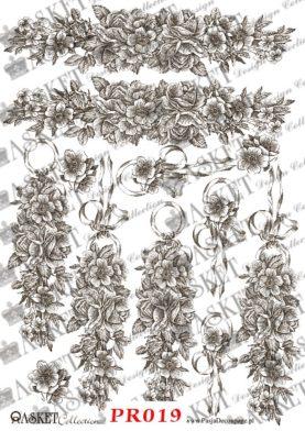 długie wzory z elementami kwiatów i kokard