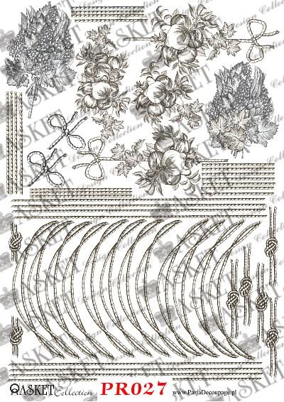 Małe elementy owoców i sznureczków do dekorowania przedmiotów