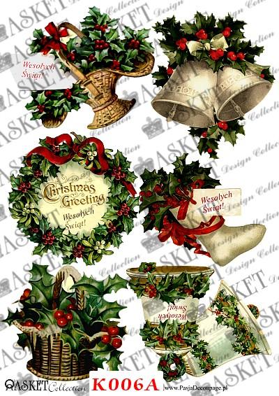 dzwoneczki, ostrokrzew oraz skarpeta na prezenty