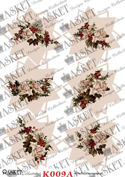 świąteczne gwiazdy z przystrojonymi różami