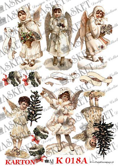 wesołe aniołki z choinkami i dzwoneczkami