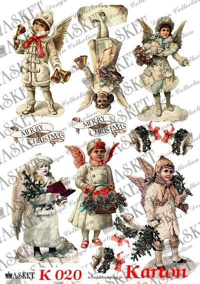 Aniołki z dekoracjami świąteczymi
