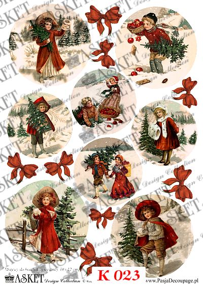 dzieci w zimę z choinkami