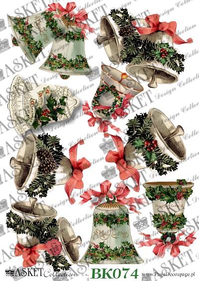 białe duże motywy dzwonów udekorowane świątecznie