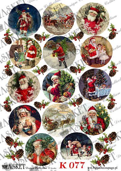 mikołaj w święta z dziećmi i workiem prezentów