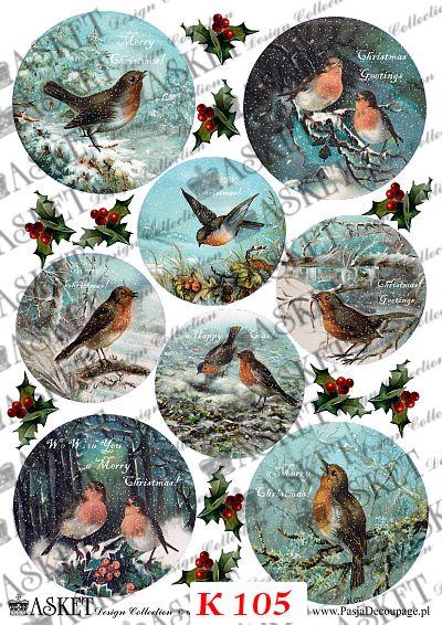 zimowe ptaszki na gałązkach drzew