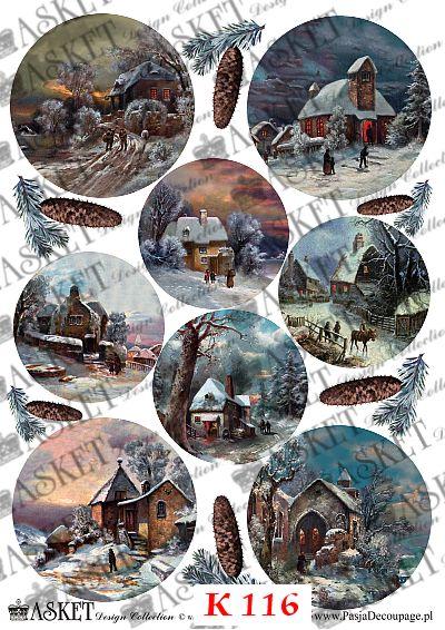 Zimowe widoki z chatkami i kościołami