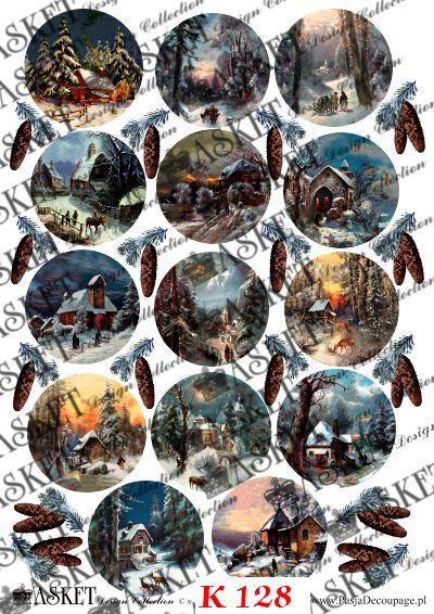 Motywy zimowe z zaśnieżonymi chatkami