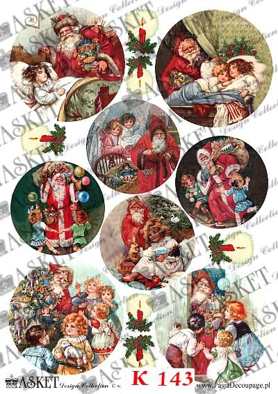 Mikołaj rozdający prezenty dzieciom