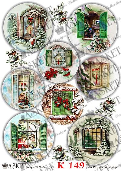 bajkowe, kolorowe motywy kartonowe do dekoracji ozdób świątecznych