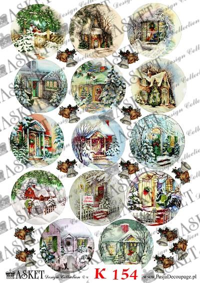 kolorowe zimowe domki świąteczne