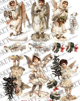 anioły z choinkami w bieli