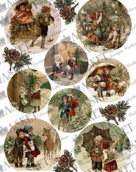 dzieci z choinka w lesie