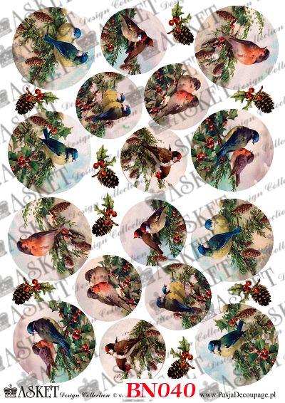 ptaki w zieleni, zima małe i duże motywy na bombki