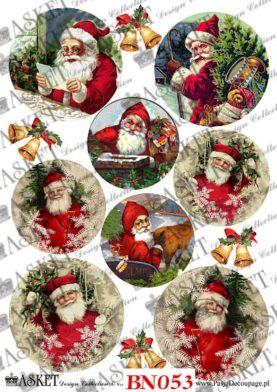 postacie wesołego Decoupage Motywy święty Mikołajmikołaja z prezentami