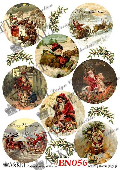 Mikołaj rozdaje prezenty dzieciom. Sanie w zime z reniferami
