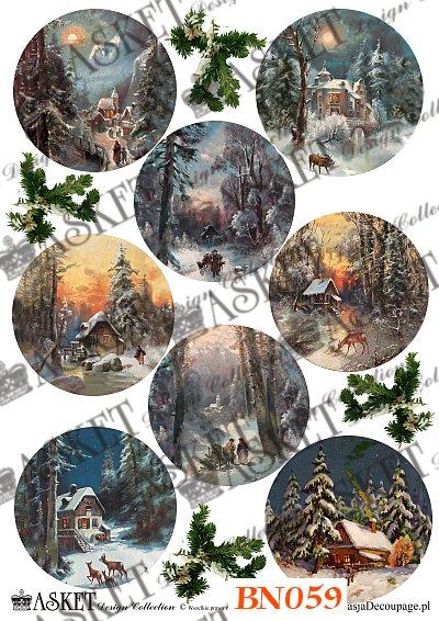 Papier Decoupage Zimowe Krajobrazy