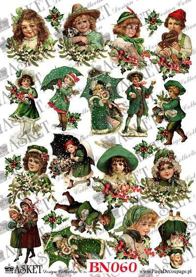motywy świątecznych dzieci w zieleni