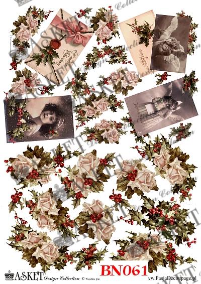 dekoracyjne papiery z motywem róży i dam vintage oraz listy