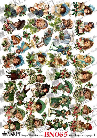 obrazki dzieci w jednolitych kolorach błękitu i zieleni