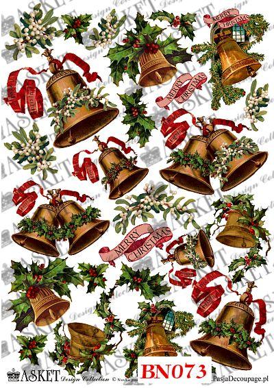 różne dzwoneczki świąteczne z ostrokrzewem