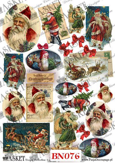 Mikołaj w różnych wielkosciach do dekupażu