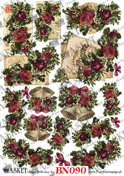 motywy róż do dekoracji świątecznych przedmiotów
