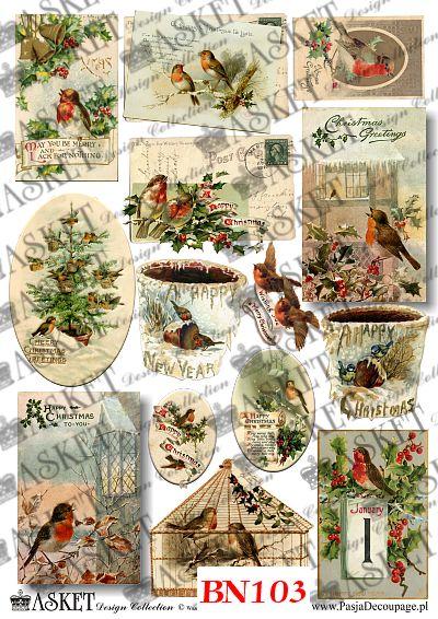 Ptaki w dzwoneczkach i z ostrokrzewem