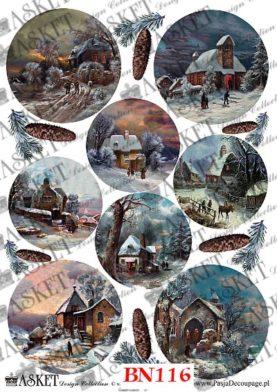 zaśnieżone domki nocą