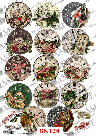 zegary różnego rodzaji z dzwonkami oraz innymi ozdobami świątecznymi