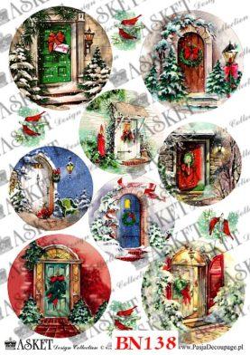świąteczne drzwi w bajkowym wydaniu