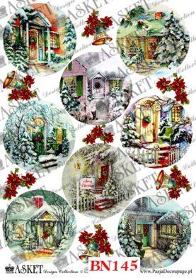 bajkowe motywy domowych drzwi frontowych ze stroikami świątecznymi