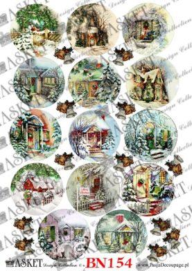 Kolorowe motywy domków w zimę. Świąteczny czas