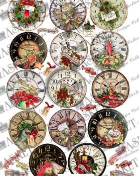 decupage motyw zegarów na gwiazdka
