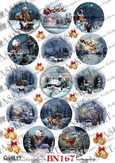 papier ryżowy święta domki christmas
