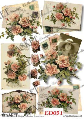 Delikatne róże, listy i kobieta