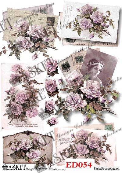 róże z dama retro w sepii