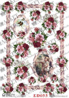 małe bukieciki róż w odcieniach czerwieni